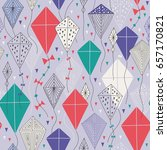 seamless pattern with kites....   Shutterstock .eps vector #657170821