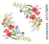 watercolor summer bouquet... | Shutterstock . vector #657178894
