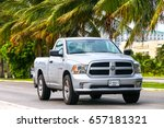 Small photo of CANCUN, MEXICO - JUNE 4, 2017: Grey pickup truck Dodge Ram in the city street.
