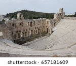 """Small photo of ATHENS, GREECE - APRIL 30, 2017: """"Odeon of Herodes Atticus, which Herod Atticus built in 165 AD in honor of his late wife Regilla in the form of an ancient theater on the southern slope of Acropolis."""""""