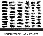 set of black paint  ink brush... | Shutterstock .eps vector #657198595