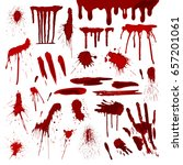 blood or paint drip splatters... | Shutterstock .eps vector #657201061