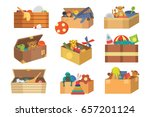 boxes full kid toys cartoon... | Shutterstock .eps vector #657201124
