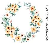soft floral pastel wreath with... | Shutterstock . vector #657201211