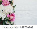 white and pink peonies on a...   Shutterstock . vector #657206269