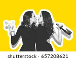 two beautiful women in black... | Shutterstock . vector #657208621