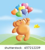 Teddy Bear With Heart Balloons