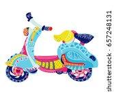 motor scooter doodle in nice... | Shutterstock .eps vector #657248131