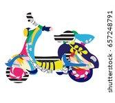 motor scooter doodle in nice... | Shutterstock .eps vector #657248791