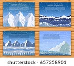 winter mountain landscapes set. ... | Shutterstock .eps vector #657258901