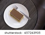 chocolate cake white dish top... | Shutterstock . vector #657263935