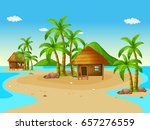 scene with wooden huts on... | Shutterstock .eps vector #657276559