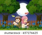 two muslim kids reading in... | Shutterstock .eps vector #657276625