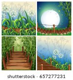 four nature scenes with wooden... | Shutterstock .eps vector #657277231