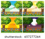 four scenes of garden at... | Shutterstock .eps vector #657277264