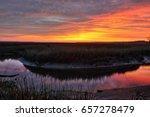Sunset On A Salt Marsh Near Th...