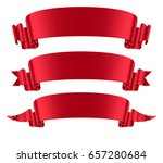 red ribbons banners set flat... | Shutterstock .eps vector #657280684