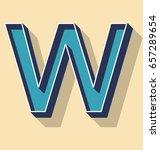 3d letter w retro vector text... | Shutterstock .eps vector #657289654