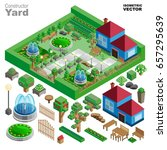 isometric country house and... | Shutterstock .eps vector #657295639