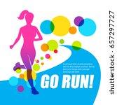 running on the track girl.... | Shutterstock .eps vector #657297727