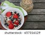 healthy breakfast bowl. granola ... | Shutterstock . vector #657316129