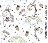 vector pattern with cute... | Shutterstock .eps vector #657332551