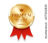 golden badge with red ribbon.... | Shutterstock .eps vector #657342835
