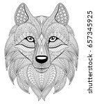 wolf head in zentangle style.... | Shutterstock . vector #657345925