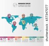 flat world map infographic... | Shutterstock .eps vector #657347077