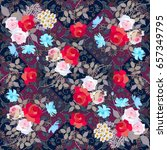 bright floral pattern with... | Shutterstock . vector #657349795