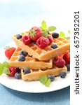 waffles with berry fruit | Shutterstock . vector #657352201