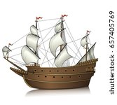 vintage sailing ship with... | Shutterstock .eps vector #657405769