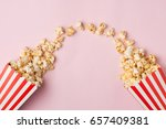 popcorn in red and white... | Shutterstock . vector #657409381