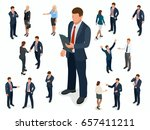 isometric set of businessman... | Shutterstock .eps vector #657411211