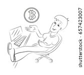 young man mining bitcoins.... | Shutterstock .eps vector #657423007