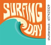 surfing background with big... | Shutterstock . vector #657425329