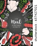 colorful meat and sausage top... | Shutterstock .eps vector #657427021