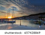 Sunset On The Yacht Marina In...