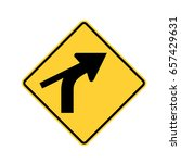 us road warning sign  curve out ... | Shutterstock .eps vector #657429631
