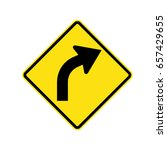 warning traffic sign  bend to...   Shutterstock .eps vector #657429655