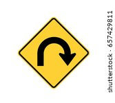 u turn sign isolate | Shutterstock .eps vector #657429811