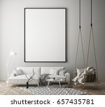 mock up poster frame in hipster ... | Shutterstock . vector #657435781