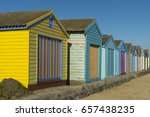 bathing boxes at the beach... | Shutterstock . vector #657438235