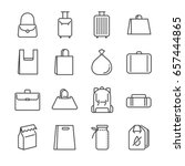 bag line icon set. included the ... | Shutterstock .eps vector #657444865