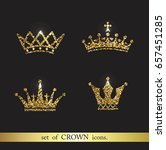 set of vector gold crown icons. ... | Shutterstock .eps vector #657451285