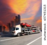 the trailer transports cars on... | Shutterstock . vector #657451315