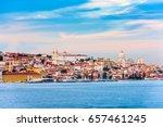 lisbon  portugal skyline on the ... | Shutterstock . vector #657461245