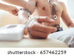 close up man tested with holter ... | Shutterstock . vector #657462259
