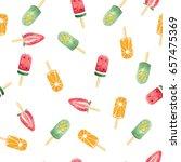 watercolor fruit ice cream... | Shutterstock . vector #657475369