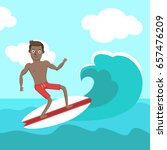 cute man riding the wave in the ... | Shutterstock .eps vector #657476209